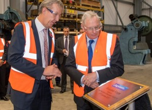 HRH Duke of Gloucester (right) opening the Riverdale Forge Building. Ian Lane, Director (left) looks on.